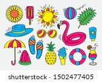 fun and colorful summer doodle... | Shutterstock .eps vector #1502477405