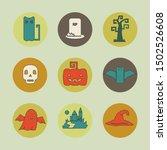 vector icon set with halloween... | Shutterstock .eps vector #1502526608