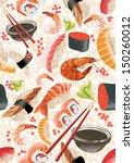 sushi seamless pattern | Shutterstock . vector #150260012