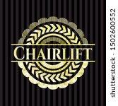 chairlift gold emblem or badge. ... | Shutterstock .eps vector #1502600552
