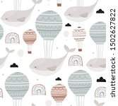 seamless childish pattern with... | Shutterstock .eps vector #1502627822