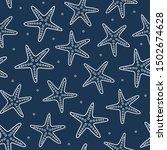 starfish seamless pattern. blue ... | Shutterstock .eps vector #1502674628