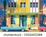 street scene on a sunny summer... | Shutterstock .eps vector #1502692388