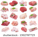 Collection Of Raw Meat Isolated ...