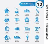 real estate icons blue version... | Shutterstock .eps vector #150281126