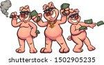 rich cartoon pigs showing off... | Shutterstock .eps vector #1502905235