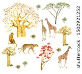 set of animals and trees of the ...   Shutterstock . vector #1502921252