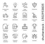insurance thin line icons ... | Shutterstock .eps vector #1502953835