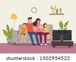 mother and father with children ... | Shutterstock .eps vector #1502954522
