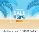 summer sale card with coconut... | Shutterstock .eps vector #1503023645