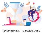 cartoon man working on notebook ... | Shutterstock .eps vector #1503066452
