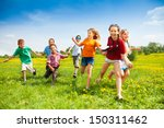 large group of children running ... | Shutterstock . vector #150311462