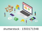 online shopping concept with... | Shutterstock .eps vector #1503171548