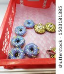 Some Yellow And Blue Donuts...