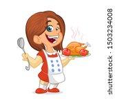 Cartoon Cute Little Girl In...