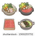 set of hot pot with meat with... | Shutterstock .eps vector #1503255752