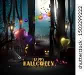 halloween greeting card with... | Shutterstock .eps vector #1503299222