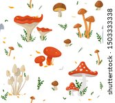 Seamless Pattern With Mushroom...