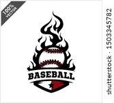 baseball ball flame badge logo... | Shutterstock .eps vector #1503345782