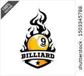 billiard 9 ball flame badge... | Shutterstock .eps vector #1503345788