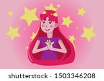 a young girl with pink hair... | Shutterstock .eps vector #1503346208