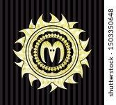 goat head icon inside golden... | Shutterstock .eps vector #1503350648