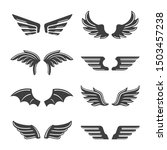 set of vector vintage wings... | Shutterstock .eps vector #1503457238