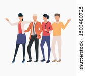 friends hugging and waving... | Shutterstock .eps vector #1503480725