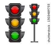 traffic lights with all three... | Shutterstock .eps vector #1503489755