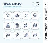 happy birthday icon set. line... | Shutterstock .eps vector #1503504215