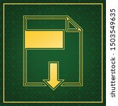 File Download Sign. Golden Icon ...