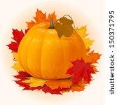 halloween pumpkin with fall... | Shutterstock .eps vector #150371795
