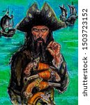 William Kidd - Scottish sailor and English privateer, corsair and pirate. Pastel graphic arts.