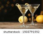 Glasses Of Lemon Drop Martini...