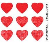heart shape postal stamps set... | Shutterstock .eps vector #1503802445