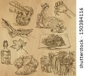 art,artistic,artwork,baguette,baguette with ham,blueprint,breakfast,chinese chopsticks,classic,classical,collection,cooking,croissant,cuisine,deli