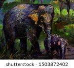 Art Painting Oil Color Elephant ...
