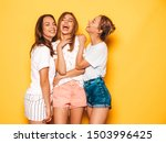 three young beautiful smiling...   Shutterstock . vector #1503996425