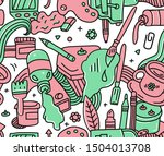 red and green doodle detailed... | Shutterstock .eps vector #1504013708