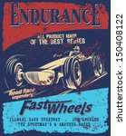 vector old school race poster. | Shutterstock .eps vector #150408122