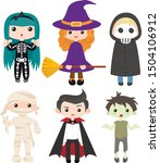 set of children in halloween... | Shutterstock .eps vector #1504106912