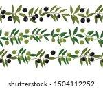 seamless border from olive... | Shutterstock .eps vector #1504112252