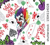 joker with vivid rainbow and... | Shutterstock .eps vector #1504114028