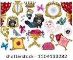 cartoon fairytale princess cats ... | Shutterstock .eps vector #1504133282