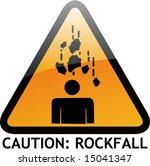 vector of alert sign 37 rockfall
