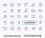 laundry outline icons with... | Shutterstock .eps vector #1504386548