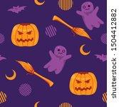 halloween vector seamless... | Shutterstock .eps vector #1504412882