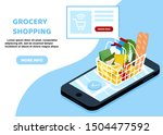 online grocery shopping concept.... | Shutterstock .eps vector #1504477592