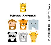 jungle safary animals icons ... | Shutterstock .eps vector #1504497188