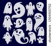 halloween ghost set vector... | Shutterstock .eps vector #1504505702